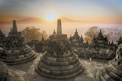 Borobudur Temple sunrise in Indonesia Stock Photography