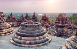 Borobudur Temple. At sunrise.Java.Indonesia Stock Photos