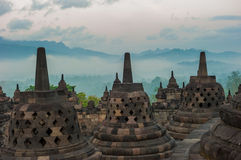Borobudur temple at sunrise, Java, Indonesia Stock Image