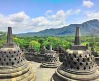 Borobudur Temple. Is sunrise, Yogyakarta, Java, Indonesia Stock Photos