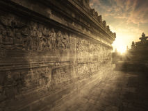 Borobudur temple at the sunset time Royalty Free Stock Photos