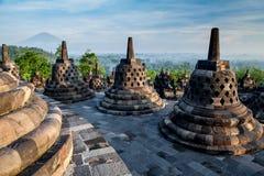 Borobudur Temple on top at sunrise Royalty Free Stock Photos
