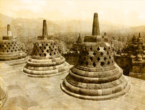 Borobudur temple  vintage effect Royalty Free Stock Photos