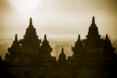 Borobudur Temple wall at sunrise. Indonesia. Stock Photo