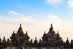 Borobudur Temple wall at sunrise. Indonesia. Stock Images