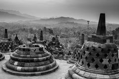 Borobudur Temple, Yogyakarta, Java, Indonesia. Black and white Borobudur Temple, Yogyakarta, Java, Indonesia Royalty Free Stock Image