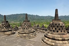 Borobudur temple in Yogyakarta, Java, Indonesia. Borobudur is a 9th-century Mahayana Buddhist temple in Magelang, Central Java, Indonesia, and the world`s Stock Image