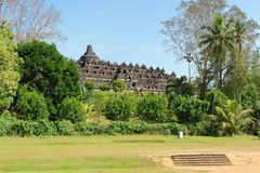 Borobudur temple in Yogyakarta, Java, Indonesia. Borobudur is a 9th-century Mahayana Buddhist temple in Magelang, Central Java, Indonesia, and the world`s Royalty Free Stock Images