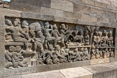 Borobudur temple in Yogyakarta, Java, Indonesia. Borobudur is a 9th-century Mahayana Buddhist temple in Magelang, Central Java, Indonesia, and the world`s Royalty Free Stock Photo