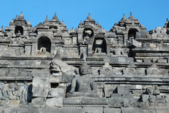 Borobudur - Wall with Buddha statue's Stock Photography