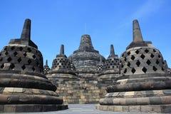 Borobudur-zonsondergang Stock Afbeeldingen