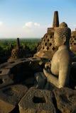 borobudurbuddha indonesia java staty Royaltyfri Bild