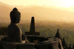 borobudurbuddha indonesia java staty Arkivbilder
