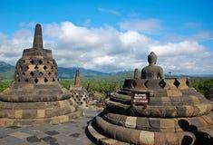 borobudurbuddha indonesia tempel Arkivfoto