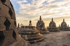 borobudurbuddistindonesia java tempel yogyakarta Arkivbild