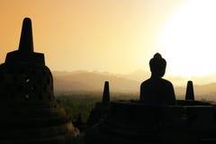 borobudurindonesia java solnedgång Royaltyfri Fotografi
