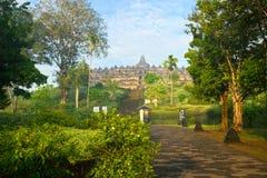 borobudurindonesia java tempel yogyakarta Arkivfoton