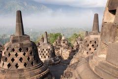Borobudurtempel dichtbij Yogyakarta op het eiland van Java, Indonesië Royalty-vrije Stock Afbeelding