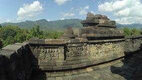Borobudurtempel met achtergrond van Ungaran-Berg in Centraal Java royalty-vrije stock foto