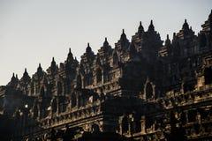 Borobudurzonsopgang, Java, Indonesië Stock Foto's