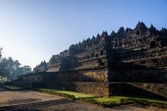 Borobudurzonsopgang, Java, Indonesië Royalty-vrije Stock Foto