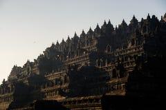 Borobudurzonsopgang, Java, Indonesië Royalty-vrije Stock Foto's