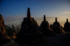 Borobudurzonsopgang, Java, Indonesië Royalty-vrije Stock Afbeeldingen