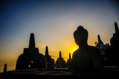 Borobudurzonsopgang, Unesco-de plaats van de werelderfenis, Java Royalty-vrije Stock Foto
