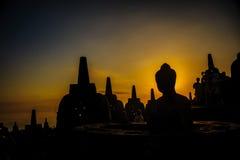 Borobudurzonsopgang, Unesco-de plaats van de werelderfenis, Java Royalty-vrije Stock Foto's