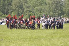 Borodino争斗。 战士保护自己 图库摄影