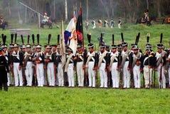 Borodino争斗历史再制定在俄罗斯,俄国军队士兵 免版税库存照片