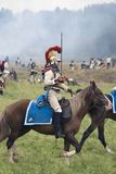 Borodino争斗历史再制定在俄罗斯,胸甲骑兵攻击 免版税图库摄影