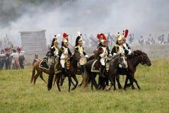 Borodino争斗历史再制定在俄罗斯,胸甲骑兵攻击 库存图片