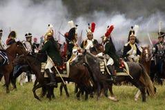 Borodino争斗历史再制定在俄罗斯,胸甲骑兵攻击 免版税库存照片