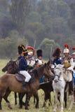 Borodino争斗历史再制定在俄罗斯,胸甲骑兵攻击 库存照片
