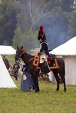 Borodino争斗历史再制定在俄罗斯,胸甲骑兵攻击 图库摄影