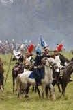 Borodino争斗历史再制定在俄罗斯,胸甲骑兵攻击 免版税库存图片