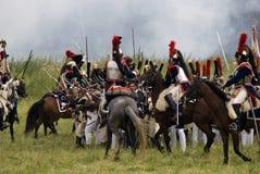 Borodino争斗历史再制定在俄罗斯,胸甲骑兵 免版税库存图片
