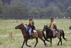 Borodino争斗历史再制定在俄罗斯 俄国军队士兵 库存照片