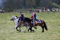 Borodino争斗历史再制定在俄罗斯 俄国军队士兵 免版税库存图片