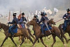 Borodino争斗历史再制定在俄罗斯 俄国军队士兵 图库摄影