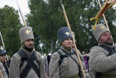 Borodino争斗历史再制定在俄罗斯 俄国军队士兵 免版税库存照片