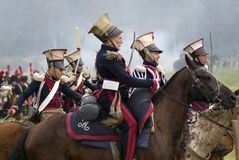 Borodino争斗历史再制定在俄罗斯 俄国军队士兵 免版税图库摄影
