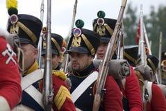 Borodino争斗历史再制定在俄罗斯 俄国军队士兵 库存图片