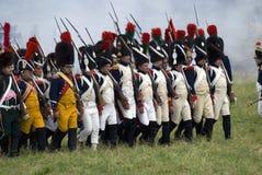 Borodino争斗历史再制定在俄罗斯 前进的战士 免版税图库摄影