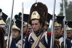 Borodino争斗历史再制定在俄罗斯 前进的战士 库存照片
