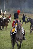 Borodino争斗历史再制定在俄罗斯 妇女马车手 免版税库存图片