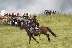 Borodino争斗历史再制定在俄罗斯 战斗场面 库存照片