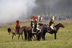 Borodino争斗历史再制定在俄罗斯 战斗场面 库存图片