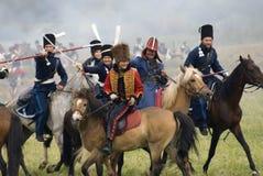 Borodino争斗历史再制定在俄罗斯 战斗场面 免版税库存照片